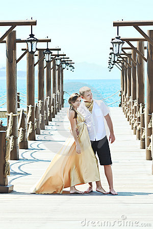 Couple on pier