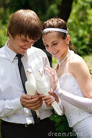 Couple with pigeons