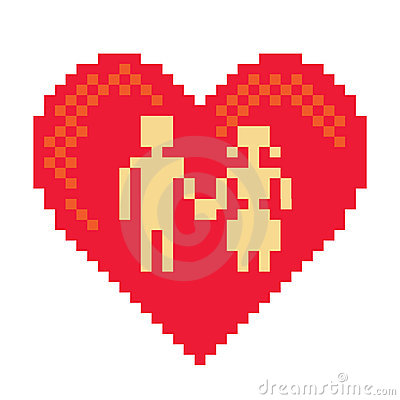 Couple in pixel heart