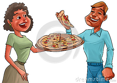 Couple and pizza