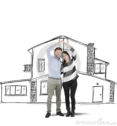 Free Couple Planning A Home Stock Photography - 53171312