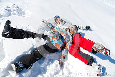 Couple play  in snow