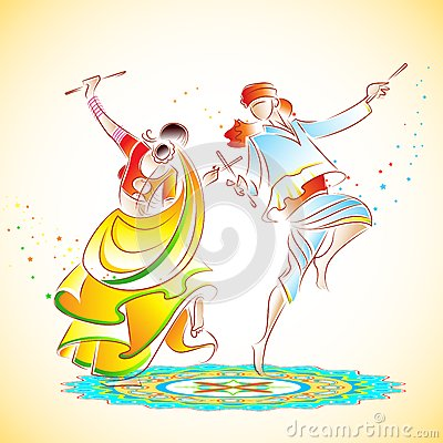 Free Couple Playing Dandiya Stock Photography - 27000672