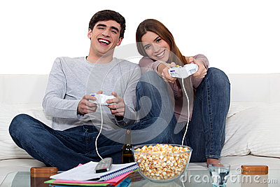 Couple playing to video games