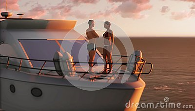 Couple on a pleasure boat