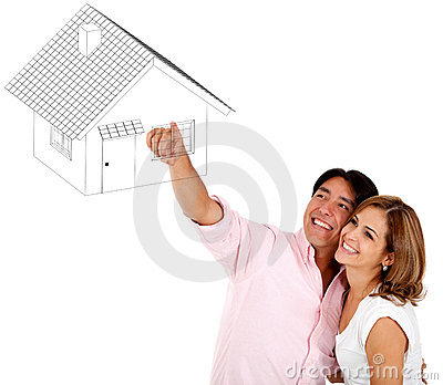 Couple pointing a house