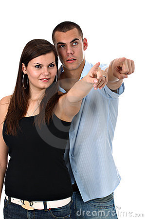 Couple pointing index fingers to side isolated