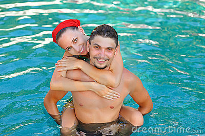 Couple In Pool Royalty Free Stock Image - Image: 12951176