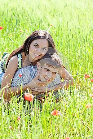 Couple in poppy field