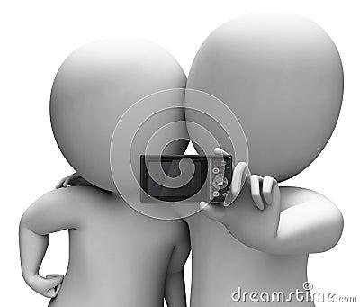 Couple Portrait Photo Shows Camera Self Photo Snapshot