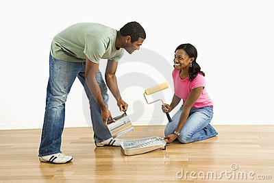 Couple preparing to paint.