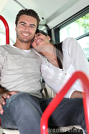 Couple on public transport