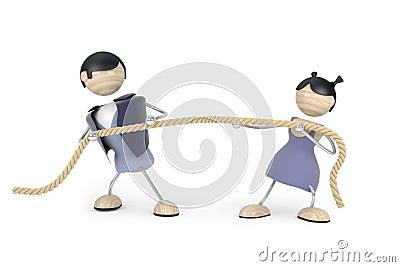 Couple quarrel, tug-of-war