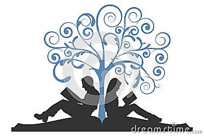 Couple Reading Under Tree