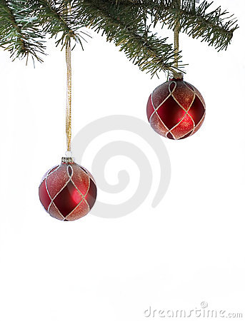 Couple of red christmas balls with place for writing