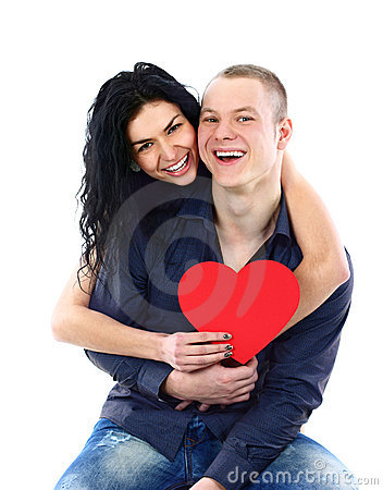 Couple with red heart on white background