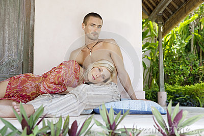 Couple Relaxing in Villa