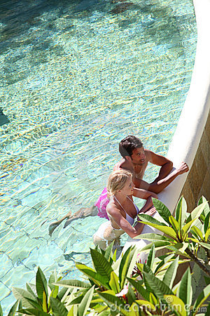 Couple in resort pool