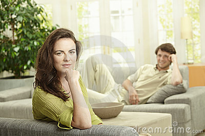 Couple resting at home