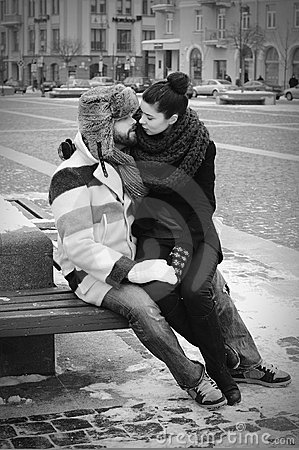 A couple in retro style kissing