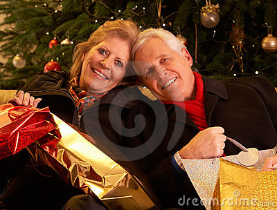 Couple Returning After Christmas Shopping T