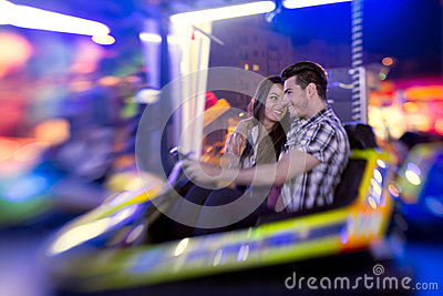 Couple ride bumper car