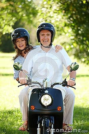 Couple riding