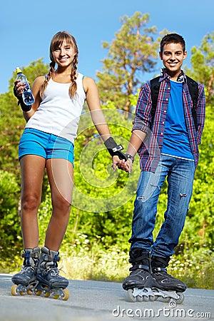 Couple on roller skates
