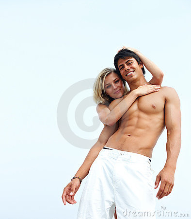 Couple romancing together over white background