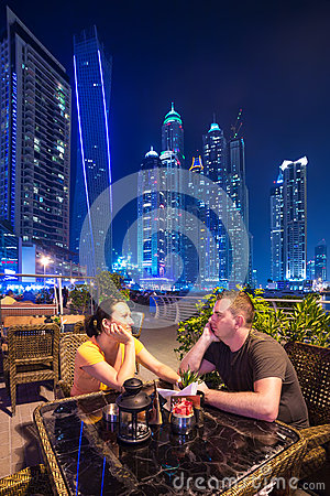 Couple on romantic dinner in Dubai