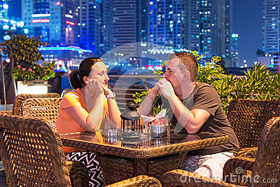 Couple on romantic dinner in Dubai.