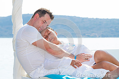 Couple in romantic hug