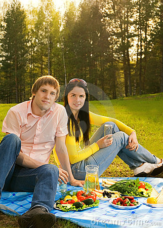 Couple at romantic picnic