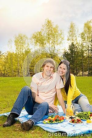 Couple at romantic picnic
