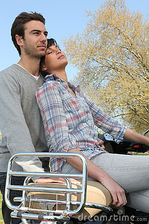 Couple on romatic outdoors date