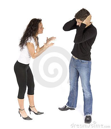 Couple s quarrel  - woman crying; man stops ears