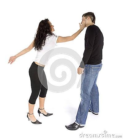 Couple s quarrel - woman hitting man