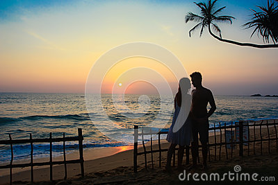 Couple s silhouette in a tropical destination