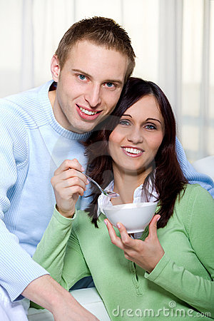 Couple with salad