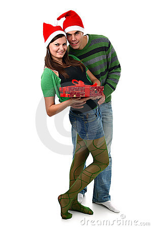 Couple in Santa hat and Christmas present isolated