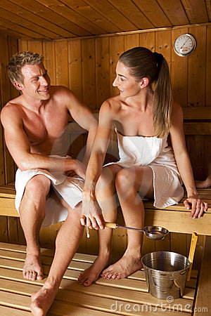Couple in in sauna