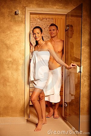 Couple at sauna door