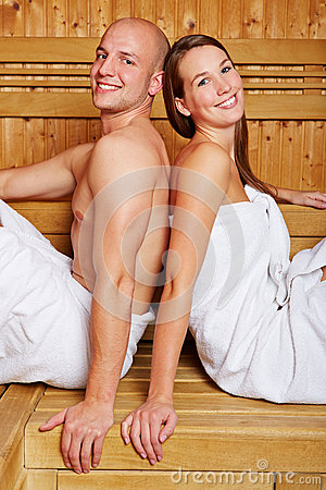 Couple in sauna of a hotel