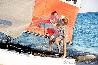 Couple on sea catamaran