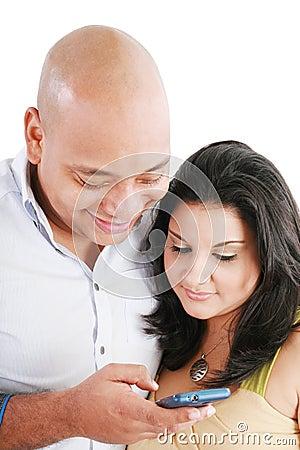 Couple sending a text message
