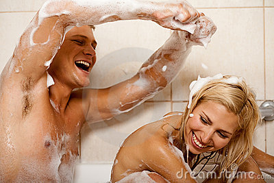 Couple sharing a bath