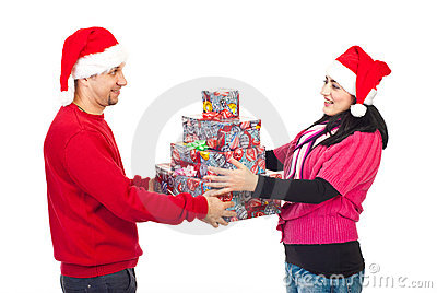 Couple sharing Christmas gifts