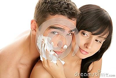Couple with shaving cream