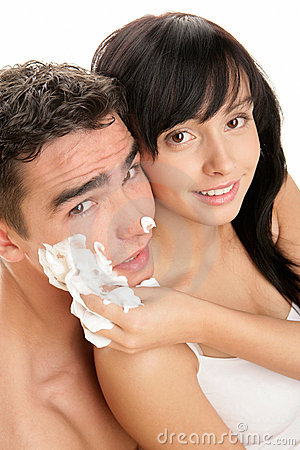 Couple with shaving cream