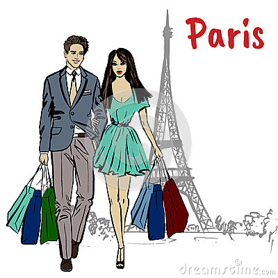 Couple with shopping bags Vector Illustration